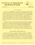 Archives of Appalachia Newsletter (vol. 2, no. 1, 1980)