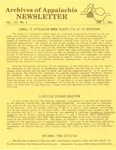 Archives of Appalachia Newsletter (vol. 3, no. 2, 1981)