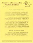 Archives of Appalachia Newsletter (vol. 4, no. 1, 1982)