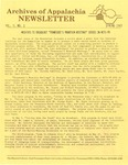 Archives of Appalachia Newsletter (vol. 5, no. 1, 1983)