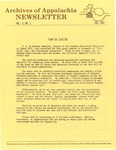 Archives of Appalachia Newsletter (vol. 5, no. 2, 1983)