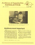 Archives of Appalachia Newsletter (vol. 6, no. 3, 1985) by East Tennessee State University. Archives of Appalachia.