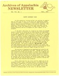 Archives of Appalachia Newsletter (vol. 7, no. 1, 1985)