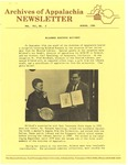 Archives of Appalachia Newsletter (vol. 7, no. 2, 1986) by East Tennessee State University. Archives of Appalachia.