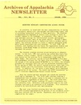 Archives of Appalachia Newsletter (vol. 7, no. 3, 1986) by East Tennessee State University. Archives of Appalachia.