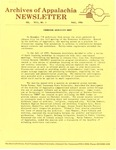 Archives of Appalachia Newsletter (vol. 8, no. 1, 1986) by East Tennessee State University. Archives of Appalachia.