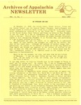 Archives of Appalachia Newsletter (vol. 9, no. 1, 1987) by East Tennessee State University. Archives of Appalachia.