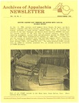 Archives of Appalachia Newsletter (vol. 9, no. 3, 1988) by East Tennessee State University. Archives of Appalachia.