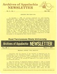 Archives of Appalachia Newsletter (vol. 10, no. 1, 1988) by East Tennessee State University. Archives of Appalachia.
