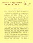 Archives of Appalachia Newsletter (vol. 10, no. 2, 1989)
