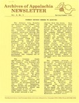 Archives of Appalachia Newsletter (vol. 10, no. 3, 1989) by East Tennessee State University. Archives of Appalachia.