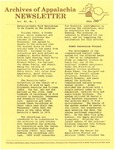 Archives of Appalachia Newsletter (vol. 11, no. 1, 1989) by East Tennessee State University. Archives of Appalachia.