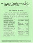 Archives of Appalachia Newsletter (vol. 12, no. 1, 1990)
