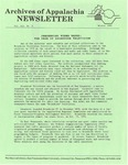 Archives of Appalachia Newsletter (vol. 12, no. 2, 1991) by East Tennessee State University. Archives of Appalachia.