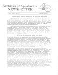 Archives of Appalachia Newsletter (vol. 13, no. 1, 1992) by East Tennessee State University. Archives of Appalachia.